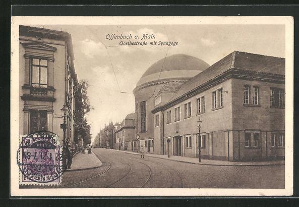AK Offenbach a. Main, Goethestrasse mit Blick zur Synagoge 0