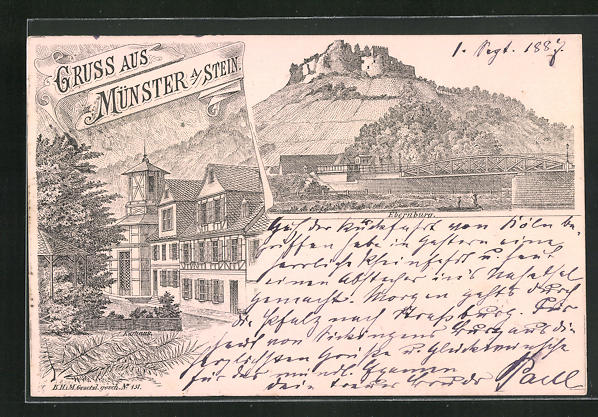 Vorläufer-Lithographie Münster a. Stein, 1887, Ansicht vom Kurhaus, Blick zur Ebernburg 0