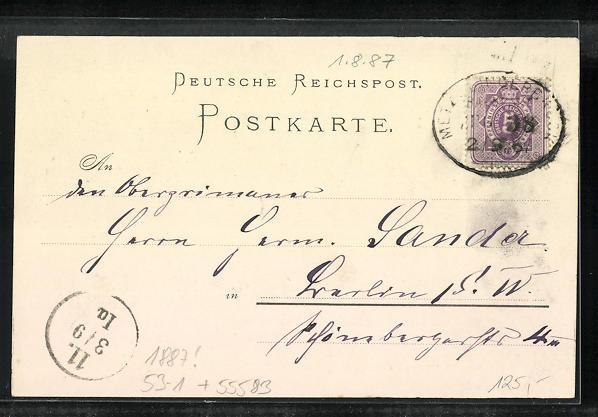Vorläufer-Lithographie Münster a. Stein, 1887, Ansicht vom Kurhaus, Blick zur Ebernburg 1