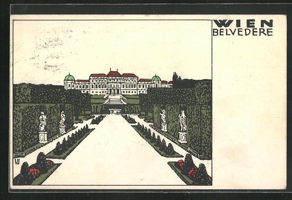 Künstler-AK Wiener Werkstätte Nr. 136, sign. Urban Janke: Wien, Blick aus dem Park zum Belvedere 0
