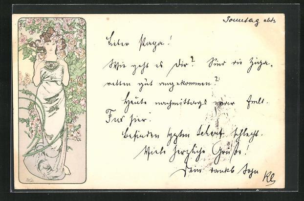 Künstler-AK Alphonse Mucha: Schöne Frau vor blühendem Rosenstrauch 0