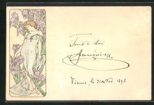 Künstler-AK Alphonse Mucha: Schöne Frau vor blühenden Schwertlilien