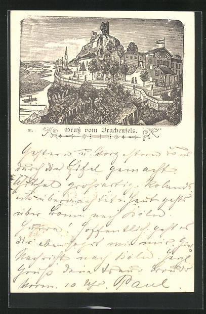 Vorläufer-Lithographie Ganzsache PP6F38 /04: Königswinter, 1887, Ansicht vom Gasthaus Drachenfels 0