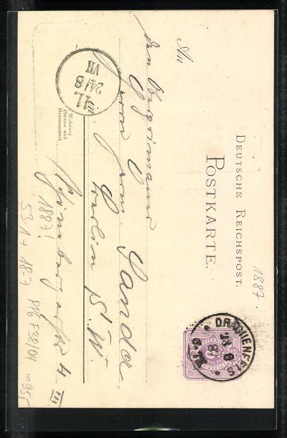 Vorläufer-Lithographie Ganzsache PP6F38 /04: Königswinter, 1887, Ansicht vom Gasthaus Drachenfels 1