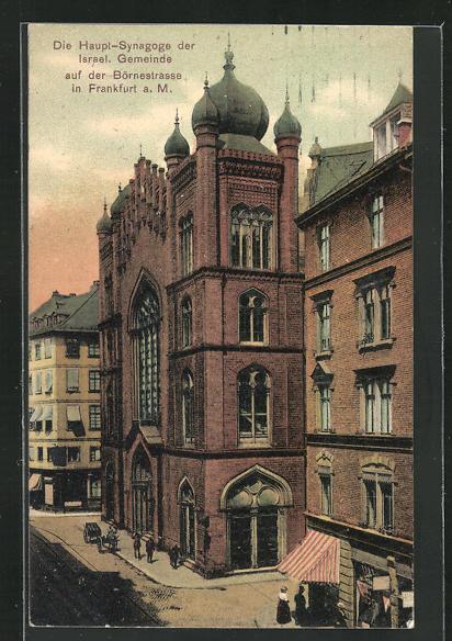 AK Frankfurt, Haupt-Synagoge der israelitischen Gemeinde in der Börnestrasse 0