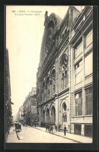 AK Paris, Ansicht der Synagoge, Rue de la Victoire