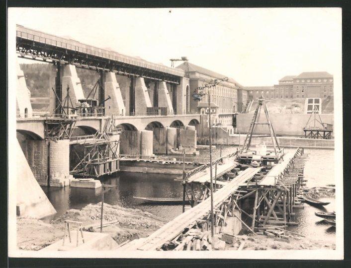 Fotografie Fotograf unbekannt, Ansicht Eglisau, Baustelle am Laufwasserkraftwerk 0