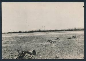Fotografie Ansicht St. Quentin, gefallene Soldaten auf dem Schlachtfeld zwischen Ham & St. Quentin, 1.WK