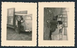 2 Fotografien Goliath Pritsche, Bilder-Händler mit Transporter-Pritsche