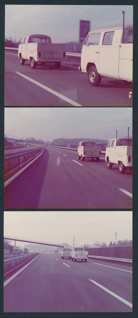 3 Fotografien Volkswagen Pritsche T2 Doppelkabine, Bulli auf einer Autobahn 0