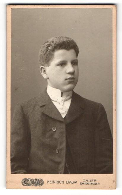 Fotografie Heinrich Baum, Jauer, Portrait hübscher Bube in Krawatte und Jackett 0