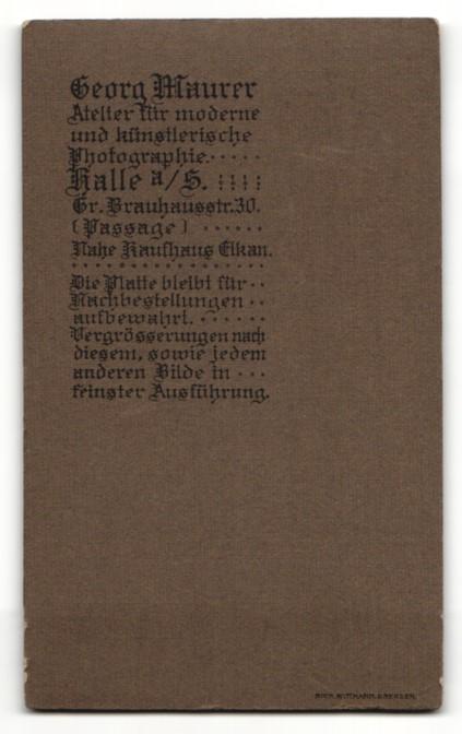 Fotografie Georg Maurer, Halle a. S., Portrait charmanter junger Mann mit Bart und Ansteckblume 1
