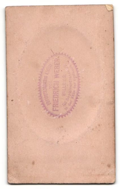 Fotografie Friedrich Weber, Halle a. S., Portrait junger Mann mit Oberlippenbart im Jackett 1