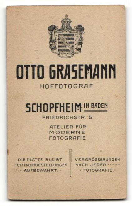 Fotografie Otto Grasemann, Schopfheim, Portrait lachendes kleines Mädchen mit Haarschleife und Halskette 1