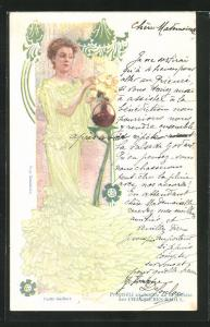 Künstler-AK Schauspielerin Yvette Guilbert in grünem Kleid, Jugendstil