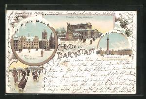 Winter-Lithographie Darmstadt, Theater und Kriegerdenkmal, Markt und Rathaus, Louisenplatz und Ludwigsmonument