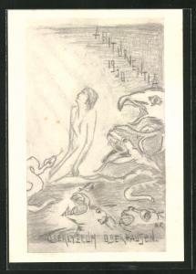 Künstler-AK Oberhausen, Abiturientia Oberlyzeum 1930, Scherz