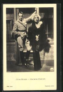 AK Marlene Dietrich und Clive Brook