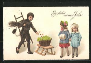 AK Schornsteinfeger bringt einen Brief, Kinder schieben Glücksklee auf ihrem Schlitten, Ein frohes neues Jahr!
