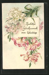 Präge-AK Rosa und weisse Blumenblüten, Herzlichen Glückwunsch zum Geburtstag!