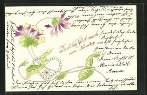 Präge-AK Lila Blumen rahmen ein Herz ein, Glückwunsch zum Namenstag!