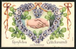 Präge-AK Hände im Veilchenherz, Glückwunsch zum Namenstag!