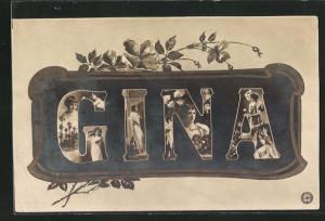 AK Frauengestalten im Schriftzug Gina, Namenstag