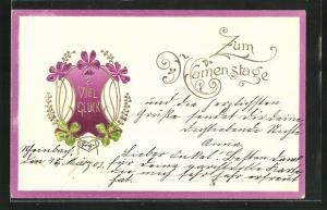 Präge-AK Ornamentik mit Klee und lila Blüten, Viel Glück zum Namenstag!