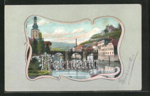 AK Schriftzug Hermann vor Ortspartie mit Brücke, Namenstag