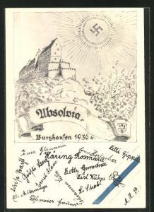 Künstler-AK Burghausen, Absolvia 1936, sonne über der Burg