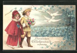 Präge-AK Kinder betrachten die weissen Tauben und die blauen Blüten, Glückwunsch zum Namenstag