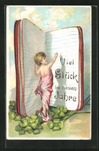 Präge-AK Junge schlägt eine neue Seite im Buch auf, Viel Glück im neuen Jahre!