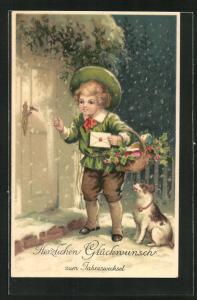 Präge-AK Junge bringt einen Brief an die Haustür, Glückwunsch zum Jahreswechsel