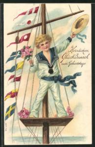 Präge-AK Junge im Matrosenanzug grüsst vom Segelschiff, Glückwunsch zum Geburtstag