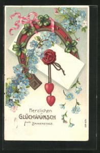 Präge-AK Brief wird von Hufeisen und Klee umrahmt, Glückwunsch zum Namenstag