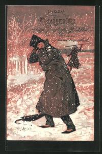 Präge-AK Mann hält sich den Hut im Schneegestöber, Prosit Neujahr