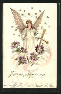 Präge-AK Osterengel blickt zwischen Kreuz und Blumenblüten vom Himmel herab, Fröhliche Ostern