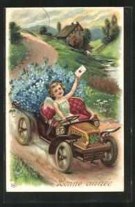 Präge-AK Neujahrsengel transportiert mit dem Auto Blumen und Post, Bonne Année