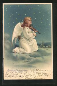 AK Weihnachtsengel spielt auf der Geige und blickt zum nächtlichen Himmel, Fröhliche Weihnachten