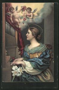 AK Frau an der Orgel betrachtet die Engel am Himmel, Sancta Cäcilia