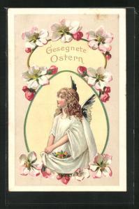 Präge-AK Osterengel sammelt Blumen in seinem Gewand, Gesegnete Ostern!