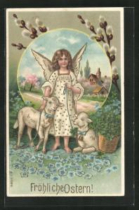 Präge-AK Osterengel hält zwei Lämmer an der Leine, Fröhliche Ostern!