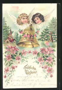 Präge-AK Osterengel betrachten die Glocke, die zu Ostern läutet, Fröhliche Ostern!
