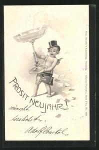 AK Neujahrsengel bringt Briefe und Sektglas, Prosit Neujahr!