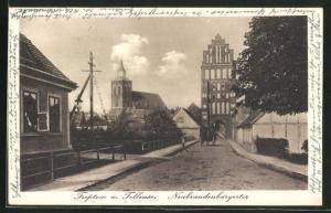 AK Treptow a. d. Tollense, Strassenpartie am Neubrandenburgertor