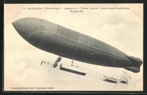 AK Französischer Zeppelin Ville de Nancy im Flug
