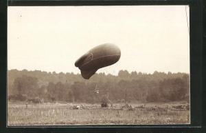 Foto-AK Start eines militärischen Beobachtungs-Ballons