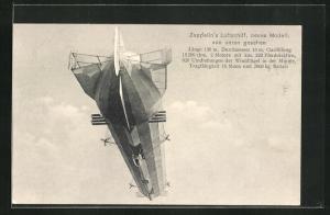 AK Zeppelins Luftschiff, neues Modell, von unten gesehen