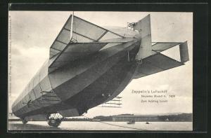 AK Zeppelins Luftschiff, Neuestes Modell 4, zum Aufstieg bereit