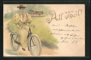 Lithographie All Heil!, Schöne Frau macht eine Fahrradtour